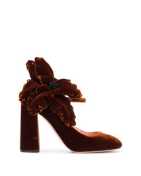 Zapatos de tacón de terciopelo con print de flores en marrón oscuro de Rochas