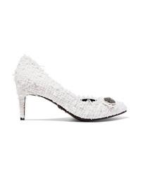 Zapatos de tacón de tweed blancos