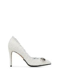 Zapatos de tacón de tweed con adornos blancos de Balmain
