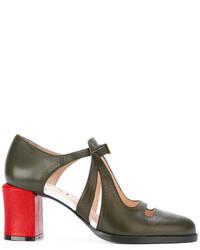Zapatos de Tacón Verde Oliva de Fendi