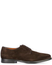 Zapatos derby de ante en marrón oscuro de Santoni
