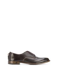 Zapatos derby de cuero en marrón oscuro de Dell'oglio