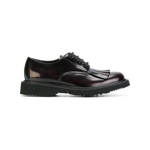 Zapatos derby de cuero en marrón oscuro de Prada