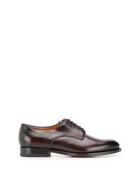 Zapatos derby de cuero en marrón oscuro de Santoni