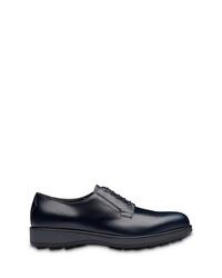 Zapatos derby de cuero gruesos azul marino de Prada