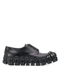 Zapatos derby de cuero gruesos negros de Prada