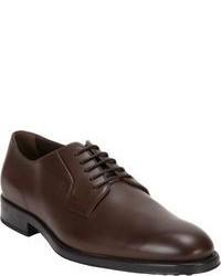 Zapatos Derby de Cuero Marrón Oscuro