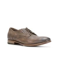 Zapatos derby de cuero marrónes de Pantanetti