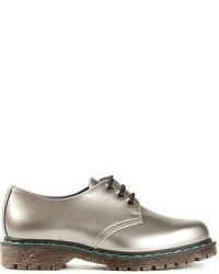 Zapatos derby de cuero plateados