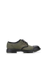 Zapatos derby de lona verde oliva
