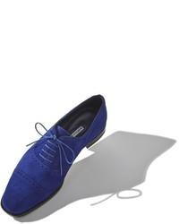 Zapatos oxford de ante azul marino de Manolo Blahnik
