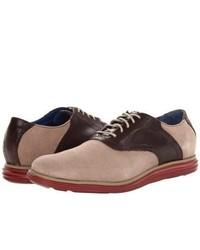 Zapatos oxford de ante en blanco y marrón