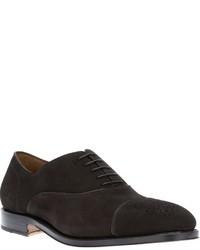 Zapatos oxford de ante en marrón oscuro de Salvatore Ferragamo