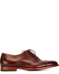 Zapatos oxford de cuero burdeos de Santoni