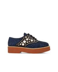 Zapatos oxford de cuero con adornos azul marino de Miu Miu
