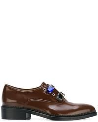 Zapatos Oxford de Cuero con Adornos en Marrón Oscuro de Toga