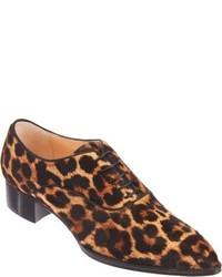 Zapatos Oxford de Cuero de Leopardo Marrónes