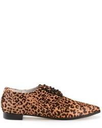 Zapatos Oxford de Cuero de Leopardo Marrónes de Senso