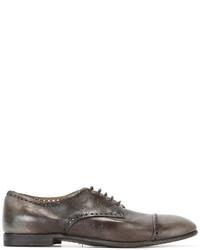Zapatos oxford de cuero en gris oscuro de Silvano Sassetti