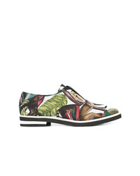 Zapatos Oxford de Cuero Estampados Multicolor de Oscar de la Renta