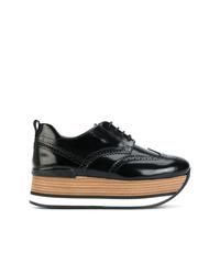 Zapatos oxford de cuero gruesos negros de Hogan