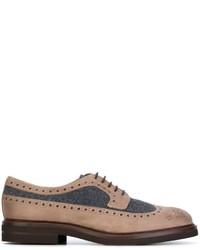 Zapatos oxford de cuero marrón claro de Brunello Cucinelli