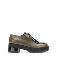 Zapatos oxford de cuero marrónes de Marni