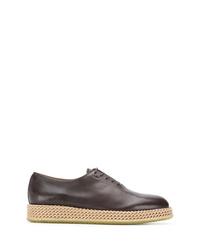 Zapatos oxford de cuero marrónes de Salvatore Ferragamo