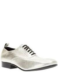 Zapatos oxford de cuero plateados de Comme des Garcons