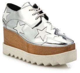 Zapatos Oxford de Cuero Plateados de Stella McCartney