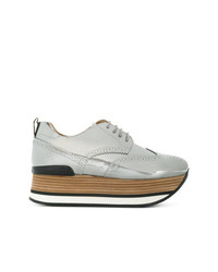 Zapatos Oxford de Cuero Plateados de Hogan
