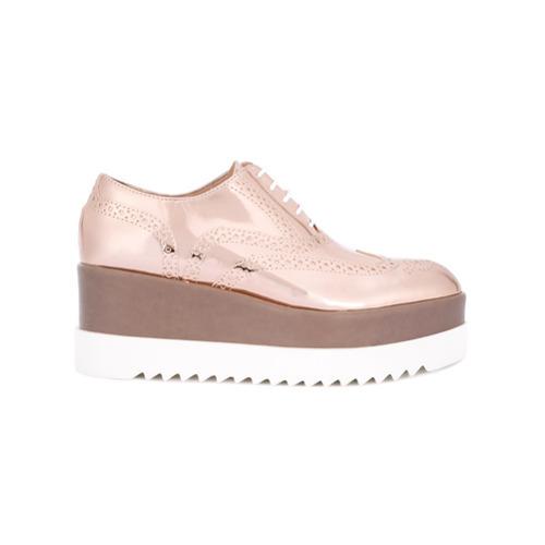 MEX$4,264, Zapatos oxford de cuero rosados de Pollini